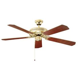 image-Fantasia 110019 Classic 52&quot Ceiling Fan In Polished Brass With Matt Mahogany/Matt Oak And Cane