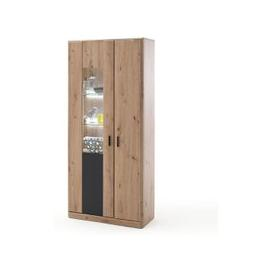 image-Calais LED Wooden Display Cabinet In Planked Oak With 2 Doors