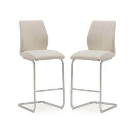 image-Samara Bar Chair In Taupe Faux Leather And Chrome Legs In A Pair