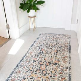 image-Blue Traditional Distressed Flat Low Pile Hall Runner Rug - Abella