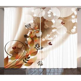 image-Brown Flowers Pencil Pleat Blackout Thermal Curtains East Urban Home Dimensions per curtain: 225cm H x 140cm W