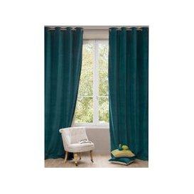 image-Single Peacock Blue Velvet Eyelet Curtain 140x300