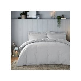 image-Soft & Cosy Brushed Cotton Silver Duvet Cover and Pillowcase Set Silver