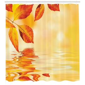 image-Leaf With Water Shower Curtain East Urban Home Size: 240cm H x 175cm W