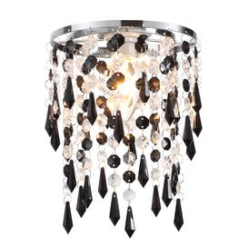 image-Easy Fit 1 Light Ceiling Pendant Lamp Shade In Black / Clear Glass