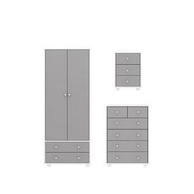 image-Miami Fresh Kids 3 Piece Package - 2 Door, 2 Drawer Wardrobe, 5 Drawer Chest, 3 Drawer Bedside Chest - Grey