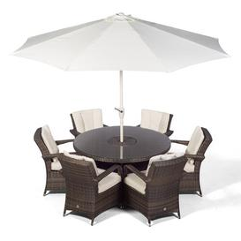 image-Karas 6 Seater Dining Set with Cushions and Parasol Dakota Fields Colour: Brown
