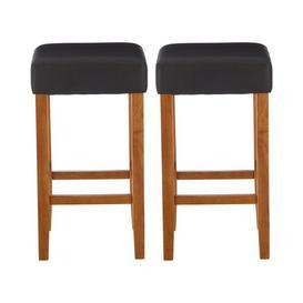 image-Parnassus 69cm Bar Stool Ophelia & Co. Colour (Frame): Oak, Colour (Upholstery): Black
