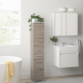 image-Haylee 30 x 160cm Free-Standing Tall Bathroom Cabinet Zipcode Design Colour: Brown