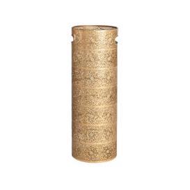 image-Matte Gold Carved Metal Umbrella Holder