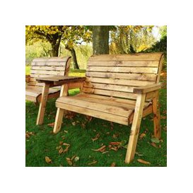 image-Twin Angled 2 Seater Traditional Scandinavian Redwood Garden Bench Set