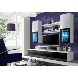 image-Mini Entertainment Unit - 200cm Black Gloss and White Gloss