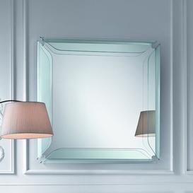 image-Burritt Square Glass Frame Mirror Ebern Designs Finish: Transparent, Size: 200 cm H x 90 cm W x  12 cm D
