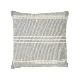 image-Recycled Plastic Oxford Stripe Garden Cushion, Dove Grey