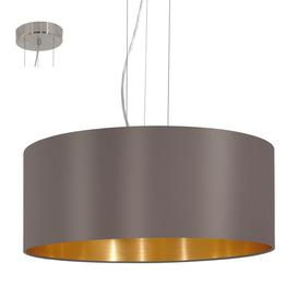 image-Eglo 31608 Maserlo Three Light Ceiling Pendant Light In Satin Nickel With Cappucino And Gold Shade
