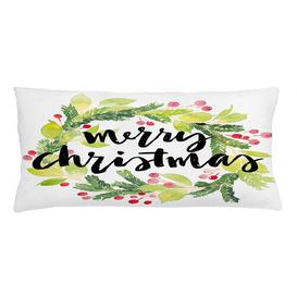image-Isulf Christmas Watercolour Wreath Outdoor Cushion Cover Ebern Designs Size: 40cm H x 90cm W