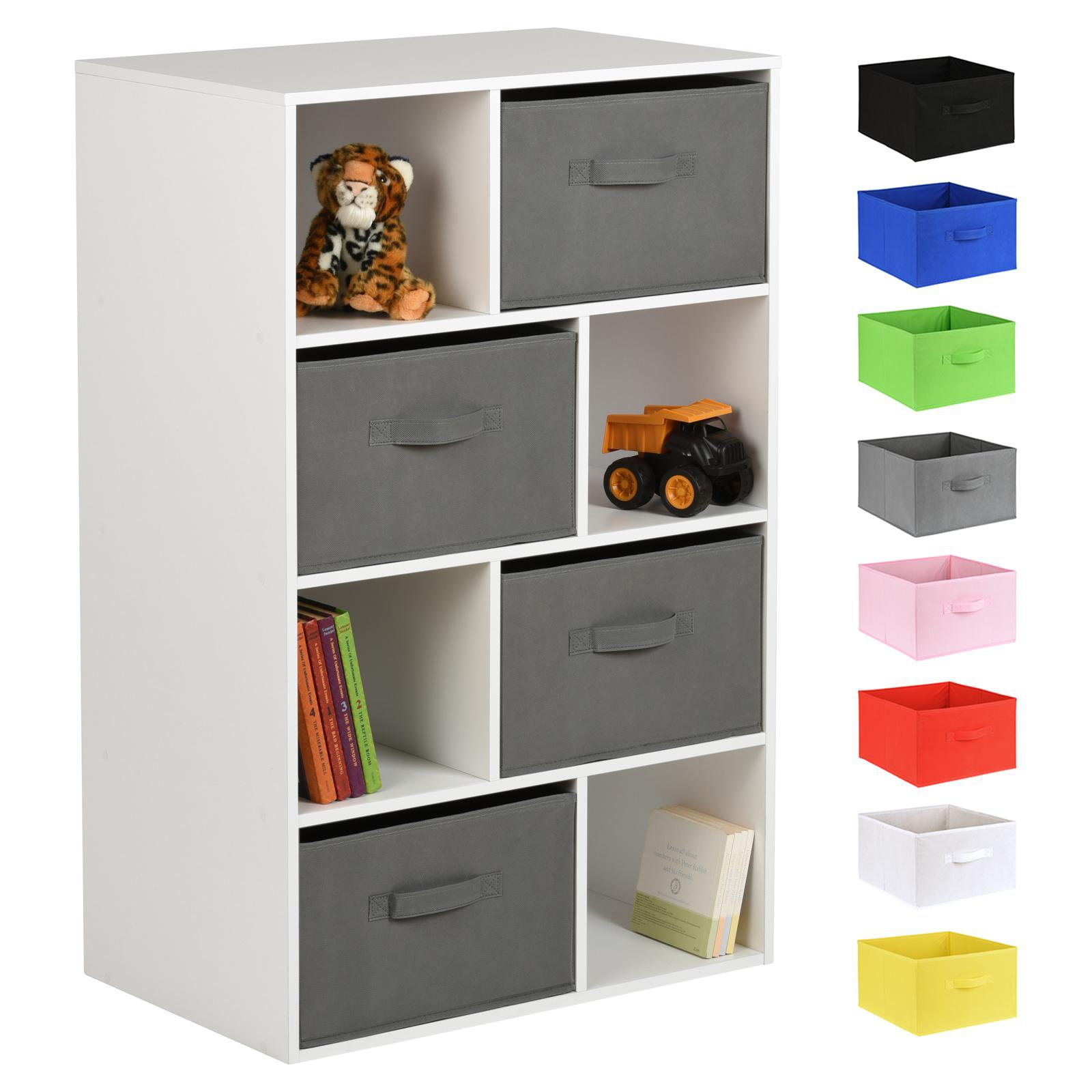 image-Hartleys White 8 Cube Kids Storage Unit & 4 Handled Box Drawers - Grey