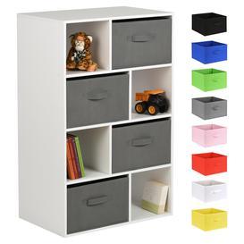 image-Hartleys White 8 Cube Kids Storage Unit & 4 Handled Box Drawers - Grey