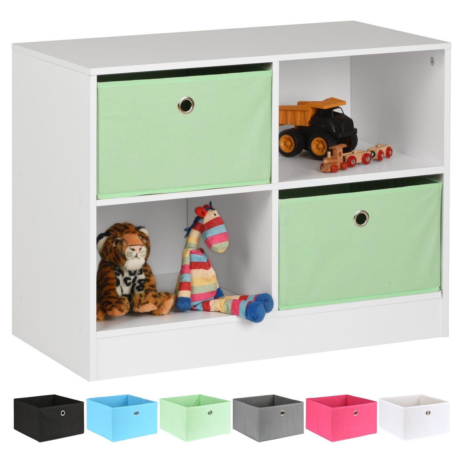 image-Hartleys White 4 Cube Kids Storage Unit & 2 Easy Grasp Box Drawers - Mint
