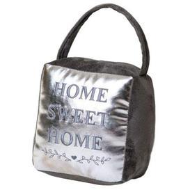 image-Hestia Silver Luxe Cube &#039Home&#039 Silver Door Stop