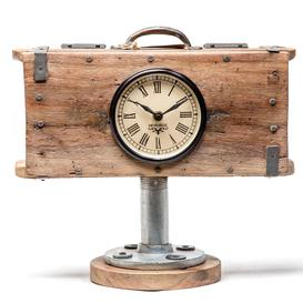 image-Upcycled Brick Mould Table Clock with Wooden Base