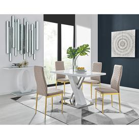 image-Sorrento 4 White Dining Table and 4 Cappuccino Gold Leg Milan Chairs