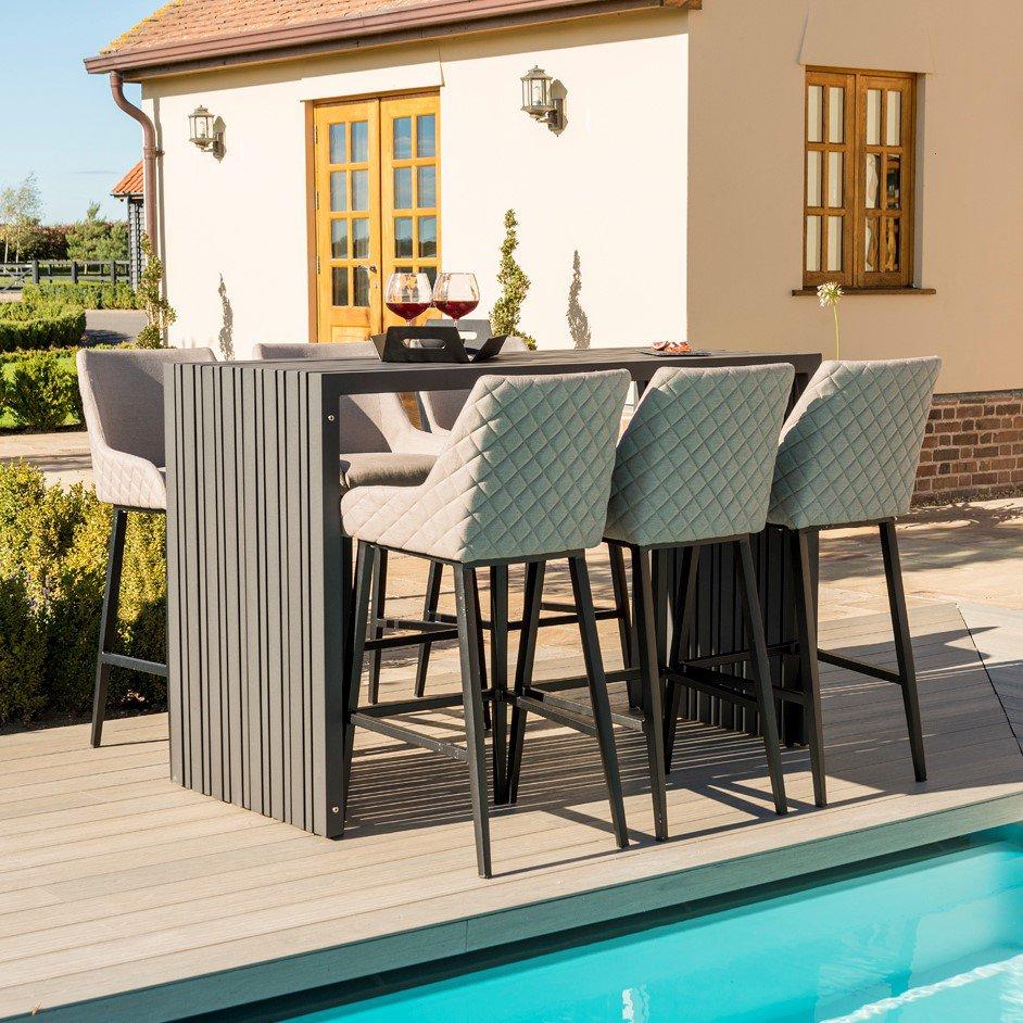 image-Maze Lounge Outdoor Fabric Regal 6 Seat Rectangular Bar Set in Taupe