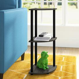 image-Corner Bookcase Wayfair Basics Colour: French Oak Grey/Black