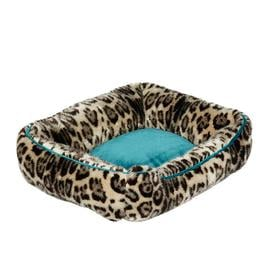 image-Faux Fur Dog Bed, Small - Leopard/Dark Teal