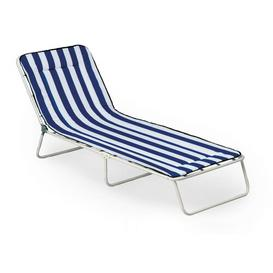 image-Chiemsee Lounge Chair with Cushion Dakota Fields Colour (Frame): White, Pad Colour: Blue and white stripes