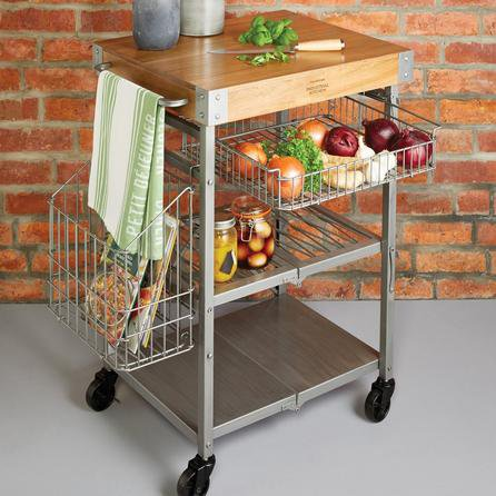 image-Industrial Kitchen Folding Kitchen Trolley Silver