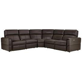 image-Dark Brown Leather Sofas - Modular 5 Seat Corner Recliner - Samson Range - Oak Furnitureland