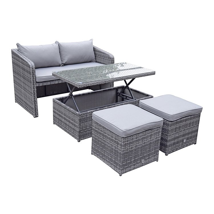 image-Signature Weave Garden Furniture Gemma Grey Stacking Compact Sofa Dining Set