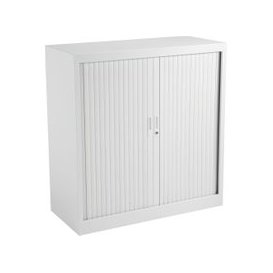 image-Value Line Metal Tambour Door Cupboards , 2 Shelf - 100wx45dx105h (cm), White, Free Delivered & Fully Installed Delivery