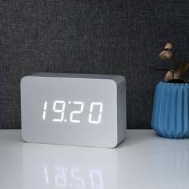 image-Modern Digital Birch Solid Wood Electric Alarm Tabletop Clock Symple Stuff Finish: Aluminium/White