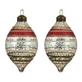 image-A by AMARA Christmas - Retro Glitter Stripe Olive Bauble - Set of 2