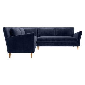 image-Keele Navy Blue Velvet  Right -Arm Corner Sofa, Dark Blue