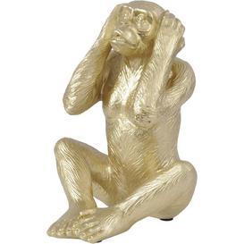 image-Libra Sculpture Monkey / Gold / Hear No Evil, Large