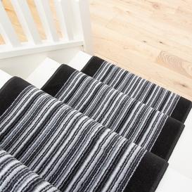 image-Black White Stripey Stair Carpet Runner - Cut to Measure