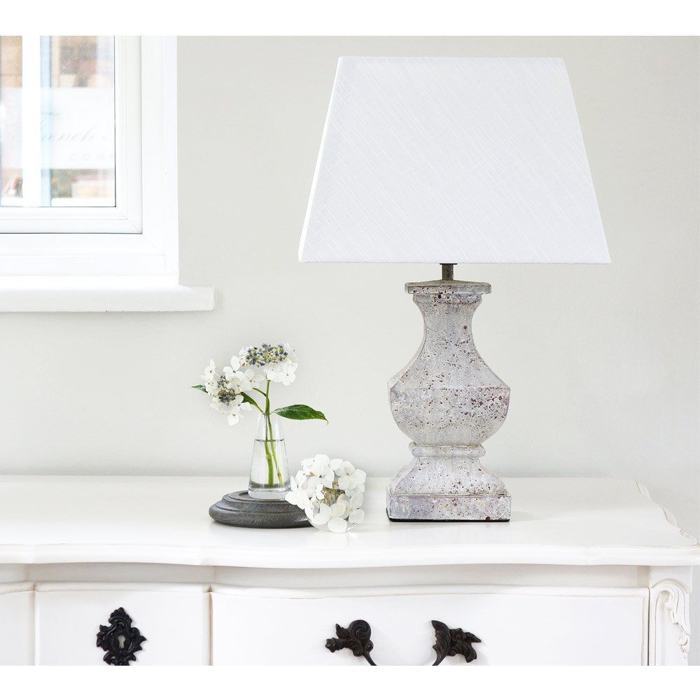 image-Distressed French Bedside Lamp - Stone Effect Lamp