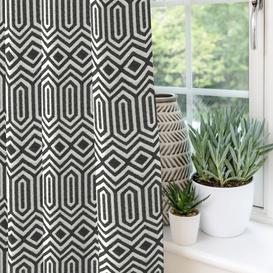 "image-Colorado Geometric Black Curtains, 228cm(w) x 290cm(d) (90"" x 114"")"