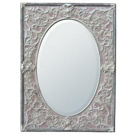 image-Oval Metal Framed Accent Mirror Fleur De Lis Living