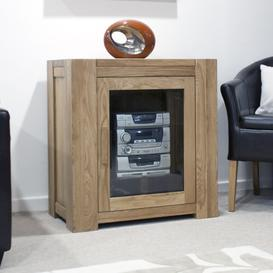 image-Milan Oak Glazed Hi-Fi Unit