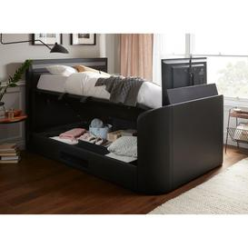 image-Tokyo D Otto TV/Media Bed Black Leather SMART TV 4'6 Double