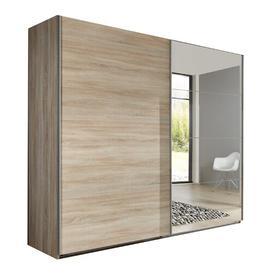 image-Dally 2 Door Sliding Mirrored Wardrobe Ebern Designs Colour: Oak