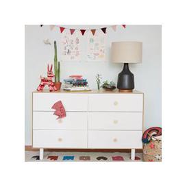 image-Oeuf Classic 6 Drawer Dresser in White & Birch