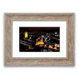 image-'London Ariel View Night Lights' Framed Photograph East Urban Home Size: 70 cm H x 93 cm W, Frame Options: Walnut