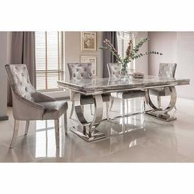 image-Vida Living Arianna Grey Marble 200cm Dining Table & 4 Belvedere Pewter Chairs