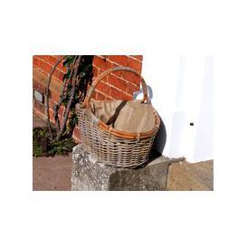 image-Kubu Oval Log Basket With Jute Lining