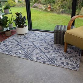 image-Blue Diamond Woven Recycled Cotton Rug - Kendall